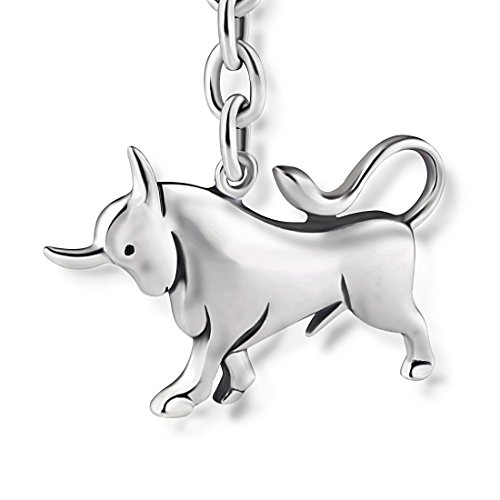 STERLL Llavero para hombre signo zodiacal Tauro, de plata 925 oxidada, ideal como regalo de hombre, con una bolsa