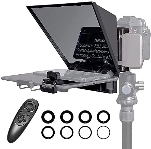Feelworld TP2A Kit de Teleprompter Portátil para Teléfonos Inteligentes, iPad, Cámaras, con Control Remoto y Anillos Adaptadores de Lentes Compatible con iOS/Android para Entrevistas en Vivo