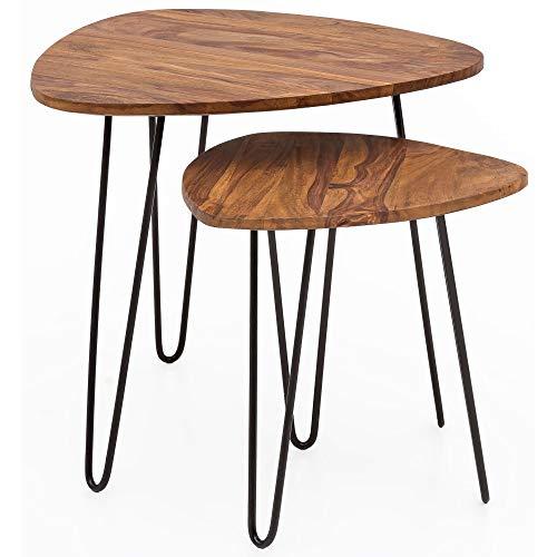 FineBuy Design Satztisch FB51455 Sheesham Metall Beistelltisch 2er Set klein | Couchtisch Set 2 Holz Tische | Massivholz Wohnzimmertisch Metallgestell | Schmaler Sofatisch Palisander Ablagetisch