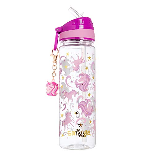 Smiggle Gold botella de agua rellenable para niñas y niños con boquilla a presión y 650ml de capacidad | Con dibujos de unicornios