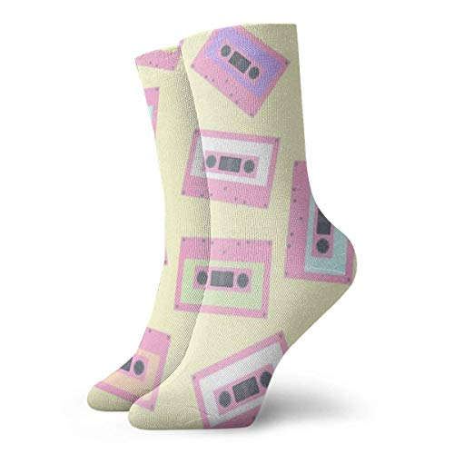 Drempad Calcetines de Vestir Unisex Retro Cassette Tape Funny Polyester Crew Socks 11.8 Inch