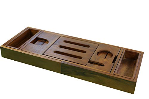 Ala Teak Wood Luxury Bathtub Caddy Tray with Extendable Sides and Bed Tray, Reading Rack, Tablet Holder