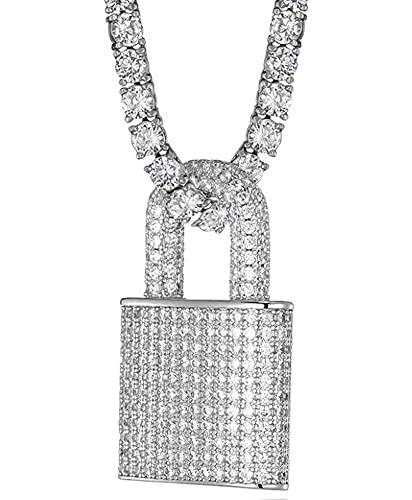 Collar Hip Hop Jewelry Bloqueo Colgante Collar Collar Sólido Diamante Completo Zircon Micro-incrustado Joyería galvanada Silver