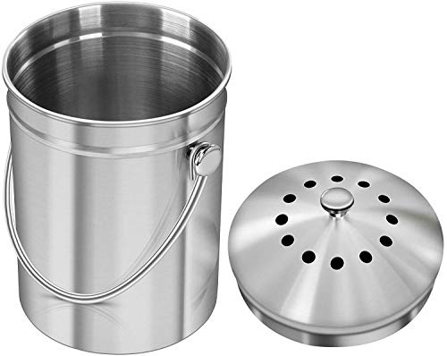 Best Review Of Gallon Stainless Steel Compost Bin with Lid