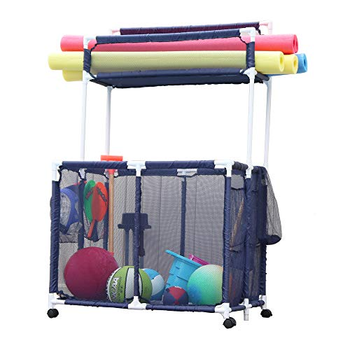 "Essentially Yours Pool Noodles Holder, Toys, Floats, Balls and Floats Equipment Mesh Rolling Double Decker Multi Use Storage Organizer Bin, 37"" L x 24"" W x 55"" H, XXL, Blue Mesh/White PVC"