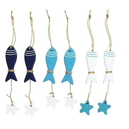 6pcs mediterráneo madera mar pescado colgante náutico decoración colgar en la pared regalo Crafts