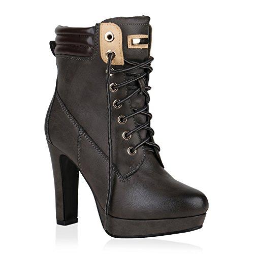 Damen Schuhe Plateau Boots Stiefeletten High Heels Leicht Gefüttert 148473 Grau Carlton 37 Flandell