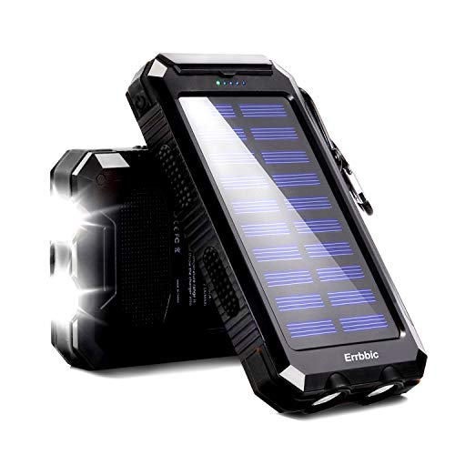 20000mAh Solar Power Bank Solar Charger Waterproof Portable Battery Charger with Compass for iPad iPhone Android Cellphones (Black)