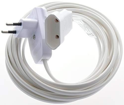 Euro-Flachstecker mit Schalter und Kupplung Verlängerungskabel 0,8m / 3m / 5m H03VVH2 F 2x0,75mm² in Weiß und Schwarz (3m, Weiß)