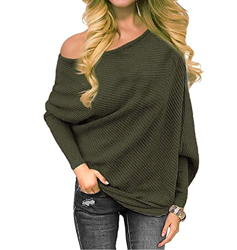 Women's Off Shoulder Sweater Knit Jumper Long Sleeve Pullover Baggy Solid