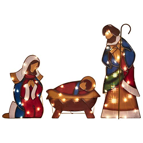 Christmas Nativity Set, 34.3' Christmas Holy Family Nativity Scene with Plug, Lighted Nativity Scene with Clear Mini Lights, Christmas Indoor/Outdoor Nativity Set (Baby Jesus, Mary and Joseph)