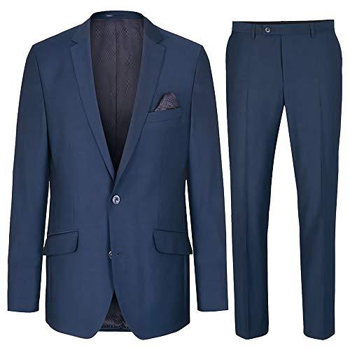 Paul Malone moderner Herren Anzug Regular fit blau - Wolle knitterfrei - Sakko und Hose Gr. 56