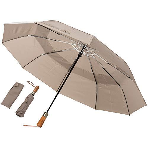 ADRIANO PORCARO® - Regenschirm Taschenschirm - sturmfest, windsicher - inkl. Schirm-Tasche - Auf-Zu-Automatik, klein, leicht & kompakt, windsfest, stabil (Khaki)