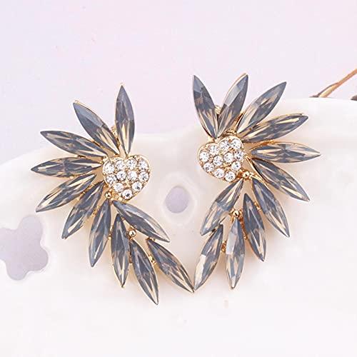 ZhenS 16 Colores pequeños Pendientes de botón con alas de corazón Piedra de Cristal acrílico para Mujer Pendientes de perforación de Moda joyería de Boda Regalo-Gris ópalo