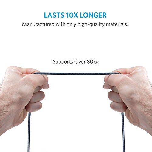 Anker Powerline+ 1.8 m Micro USB Kabel, Das hochwertige, schnellere & beständigere Ladekabel für Samsung, Nexus, LG, Motorola, Android Smartphones und weitere (Grau)