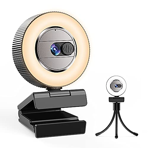 2021 CASECUBE 2K Quad HD Webcam with Microphone and Ring Light, Webcam Cover, 2 Colors and 3-Level Brightness, Plug and Play Computer Camera, Web Camera for Laptop, PC, Streaming Webcam for YouTube