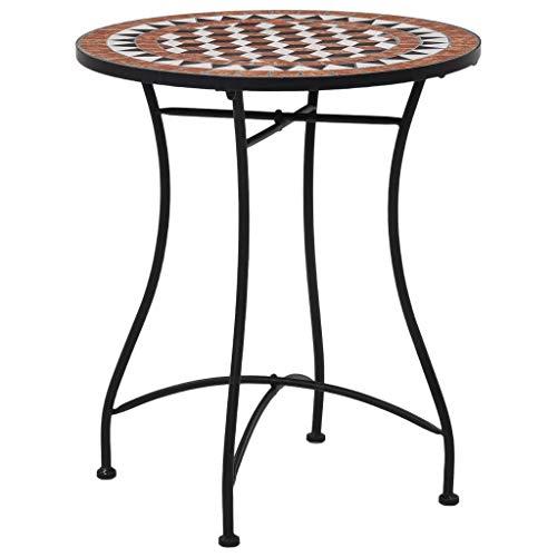 Volkcam Marrón, 60 cm, mosaico de cerámica, mesa de café, mesa de balcón, mesa de jardín, mesa auxiliar, juego de bistró, muebles de mosaico estables mediterráneos, mesa para balcón, jardín, terraza