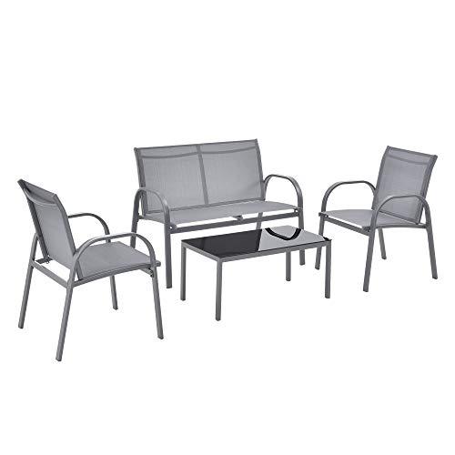 [en.casa] Set de Muebles de Jardín 4-Piezas Conjunto de Muebles de Exterior Terraza Patio Set de 2 Sillas Banco Mesa de Centro Gris Claro y Tablero de Mesa Negro
