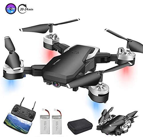 3T6B Drohne Zusammenklappbare mit Kamera , 5 Megapixel 1080P HD-Kamera, WiFi FPV-Echtzeitübertragung, RC Quadcopter, EIN-Knopf-Start (mit Zwei Batterien)