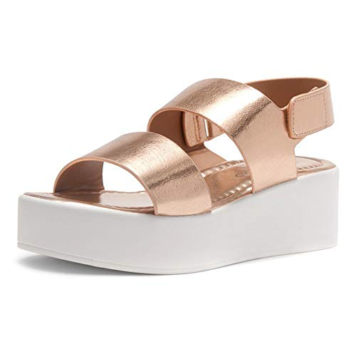 Herstyle Belma Women's Open Toe Ankle Strap Platform Wedge Sandals Rose Gold 11.0