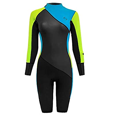 Platinum Sun Women's Neoprene Shorty Wetsuit Long-Sleeve Swimsuit Water Suits for Diving Surfing Kayaking Canoeing Snorkeling - 2.0mm (Dive-Blue, M)
