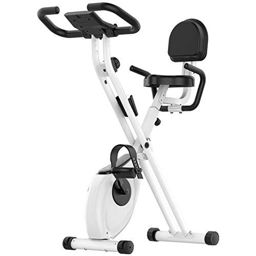 Ultrastille opvouwbare hometrainer, magnetische hometrainer met hartslagmeter, lcd-scherm en eenvoudig te monteren (wit)