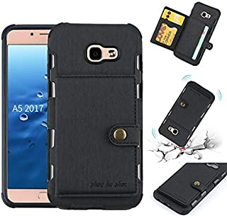 For Samsung Galaxy A5 2017 Case, Retro PU Leather TPU Shockproof Durable Back Cover with Dual Back Card Slots for Samsung ...