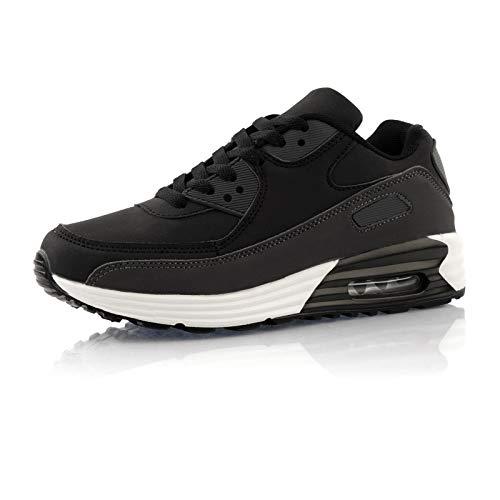 Fusskleidung® Damen Herren Sportschuhe Dämpfung Sneaker leichte Laufschuhe Schwarz Grau Weiß EU 42