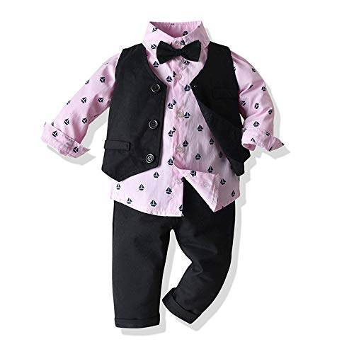 WANLN Ropa del Bebé del Muchacho del Juego de La Camisa + Chaleco + Pajarita + Pantalones de Traje 4 Piezas de Ropa de Caballero Traje de Bebé Varón,Rosado,100cm