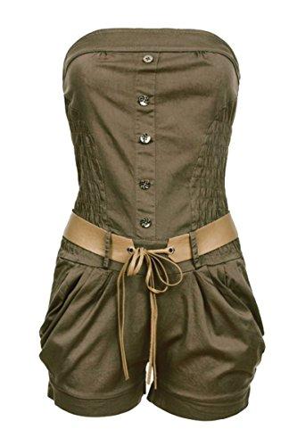 Laeticia Dreams Damen Overall Kurz Bustier S M L XL, Größe:40.L, Farbe:Olivgrün