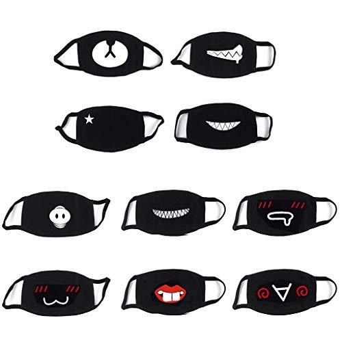 Jiaxingo 10Pack Baumwolle Mundmaske Unisex Baumwolle Gesicht Maske Schwarze Mundmaske Staubschutz Mundschutz mit Ohrbügel für Männer Frauen Outdoor-Aktivitäten