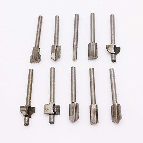 leen4you 1/20,3cm (3,2mm) Mini Schaft HSS Titan Router Bits für Dremel foredom Rotary Werkzeug-Set für DIY Holz-, Carving, Gravieren, Bohren (100)