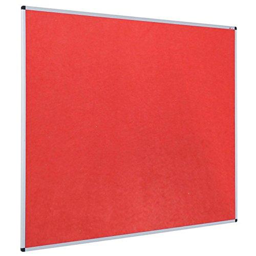 VIZ-PRO Pinnwand - Textil/Filz (rot) - mit Alurahmen - 90 x 60 cm