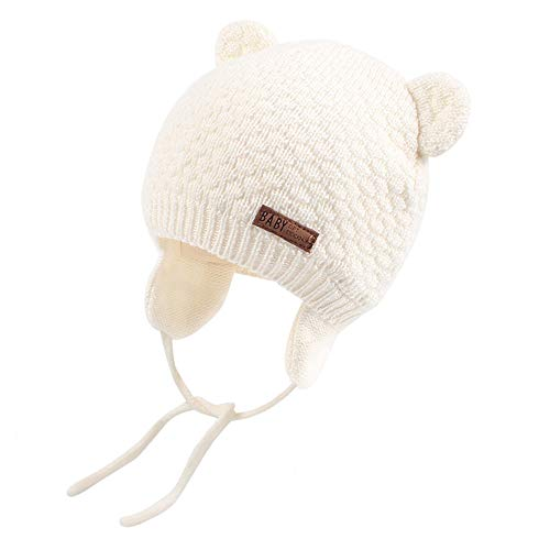 XIAOHAWANG Warm Baby Hat Cute Bear Toddler Earflap Beanie for Fall Winter (0-7Months, White)