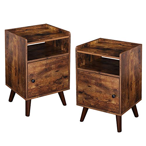 HOOBRO Nightstand Set of 2, 3-Tier End Table with Switchable Door, Side Table for Small Spaces, Stable Wooden Legs, Wood Look Accent Table, Easy Assembly, Rustic Brown BF51BZP201