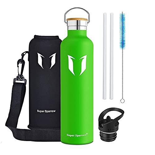 Super Sparrow Borraccia Termica 1L, Bottiglia Termica Senza Perdite - Senza BPA Borracce, per Bambini, Scuola, Sport, Campeggio, Yoga, Palestra, Ciclismo