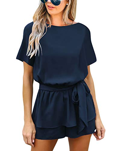 Luvamia Women's Casual Short Sleeve Belted Overlay Keyhole Back Jumpsuits Romper Navy Size Large (Fits US 12 - US 14)