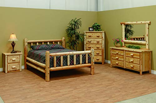 Review Furniture Barn USA White Cedar Log Bedroom Set - Queen Bed, Dresser w/Mirror, Nightstand and ...