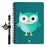 Whynote Carnet de Notes A5 - Le Cahier de Notes reutilisable à l'infini (Hibou Bleu, Pages Lignées)