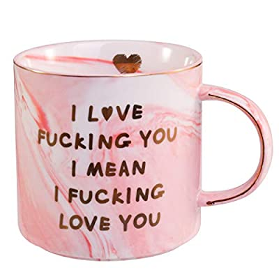 Lapogy I Love You Coffee Mug for Her Wife Girlfriend gifts,mothers day gifts for mom/Funny Christmas/Birthday Gifts Mug,Presents Ideas for Women,Valentine's Day gifts,Pink Marble Coffee Cup 12 Oz