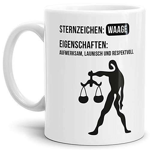 Tasse mit Design ?Sternzeichen Waage - Kaffeetasse/Mug/Cup - Qualität Made in Germany
