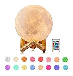EXTSUD 15cm Mond Lampe 16 Farben 3D Mondlampe mit Fernbedienung Touchschalter eingebaut Batteriebetrieben dimmbar USB Wiederaufladbare Nachtlampe Schlafzimmer Dekorative Lichter für Kinder