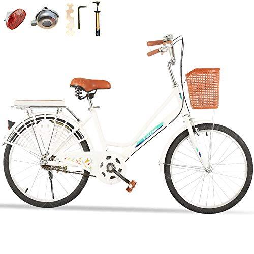 20''/22''/24''/26'',Señoras Bicicleta De La Ciudad,Altura Ajustable,Velocidad única Bicicleta Commuter,con Campana Y Herramienta De Monta,Mujeres Bicicleta-Blanco-b 20inch