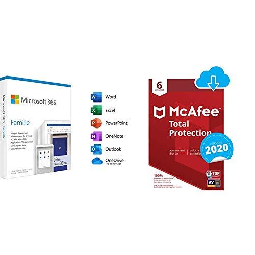Microsoft 365 Famille|2020|1 Appareil|1 an|PC/MAC/Chromebook (Envoi par la Poste) + McAfee 2020 Total Protection | 6 Appareils | 1 An | PC/Mac/Smartphones | Code d'Activation - Envoi par Email