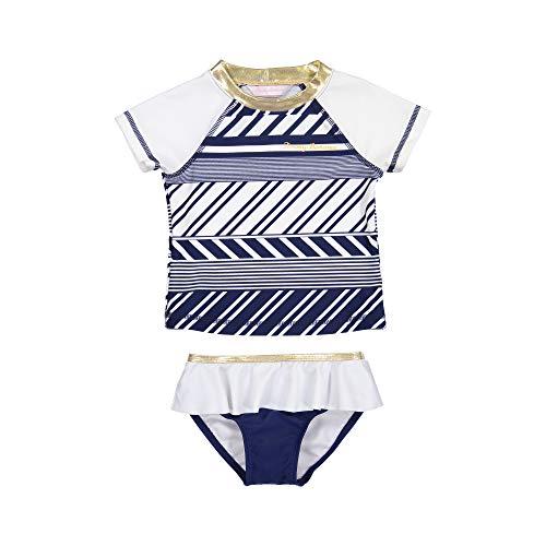 Tommy Bahama Big Girls' 2-Piece Shirt and Bikini Bottom Swim Set, Navy White Stripes, 8