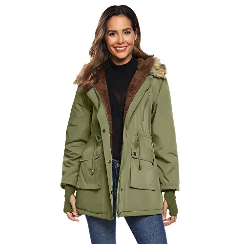 GRACE KARIN dames winter warme jas hooded fleece rits winterjas faux voor parka met capuchon trenchcoat