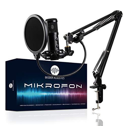 BEDDER ACOUSTICS® Mikrofon Komplettset – Professionelles Kondensator Mikrofon – USB Mikrofon Set – Beste Klangqualität