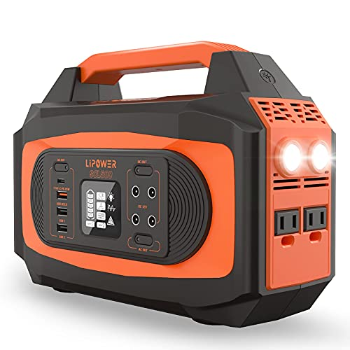 Portable Power Station 500W, LIPOWER 472Wh (127600mAh) Outdoor Solar Generator, 110V/500W Pure Sine Wave AC Outlets (750W Peak), USB QC3.0, PD 45W USB-C, LED Flashlights for CPAP Camping Emergency