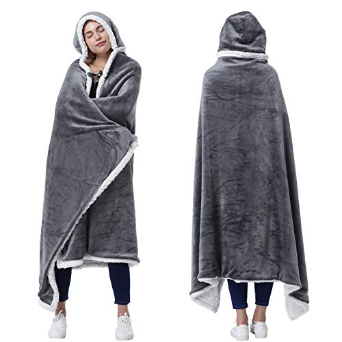 Catalonia Hooded Blanket Poncho   Wearable Blanket Wrap with Hand Pockets   Comfy Sherpa Fleece Throw Cape for Children and Adults, Women Gift
