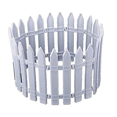 "Christmas Tree Fences White Plastic Picket Fence Miniature Home Garden Xmas Tree Ornament Wedding Party Decoration (15 Pcs - Length 65"")"